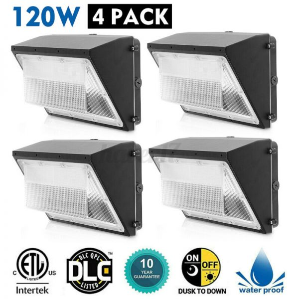 4PACK 120W LED Wall Pack Commercial Industrial Light Outdoor Security Fixture US