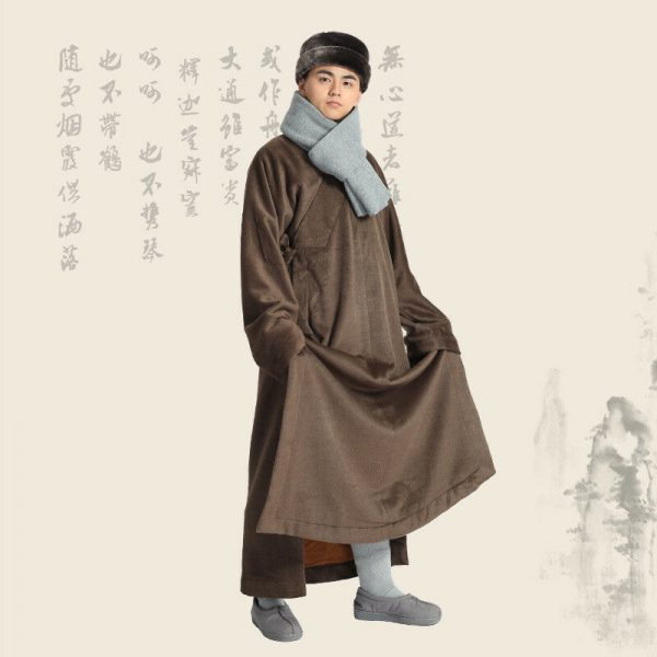 5 Color Winter Warm Double Velvet Robe Buddhist Meditation Shaolin Kung Fu Gown