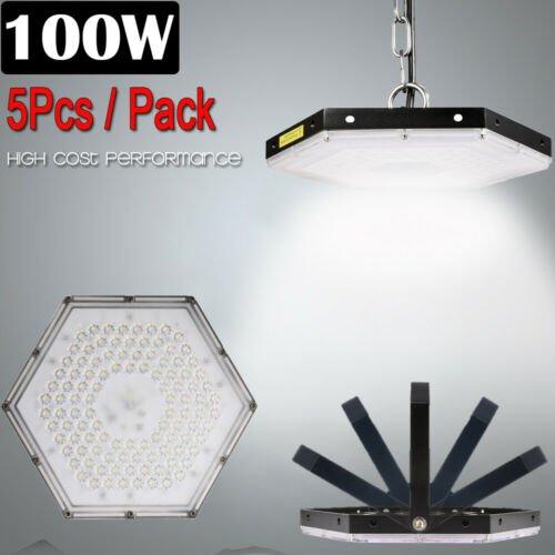 5 Set 100W LED High Bay Light Factory Warehouse Commercial Lighting Chandelier