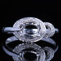 5x7mm Oval Silver Engagement Wedding Semi Mount Ring Cute Diamonds Fine Jewelry