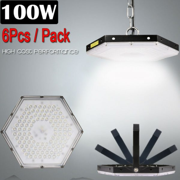 6 Set 100W LED High Bay Light Factory Warehouse Commercial Lighting Chandelier