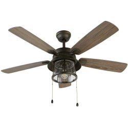 Ceiling Fan Shanahan 52 in. LED Indoor Outdoor Bronze Light Kit Seeded Glass