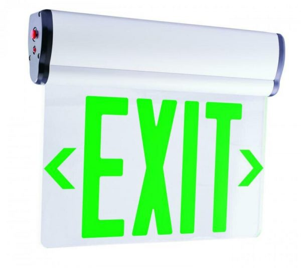 "Elco EDGLIT2 Green Two Face 12""W Edge Lit Recessed Led Exit Sign"
