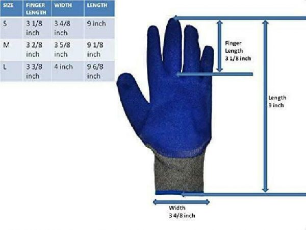 G  F 1511M-DZ Rubber Latex Coated Work Gloves for Construction, Blue, Crinkle P