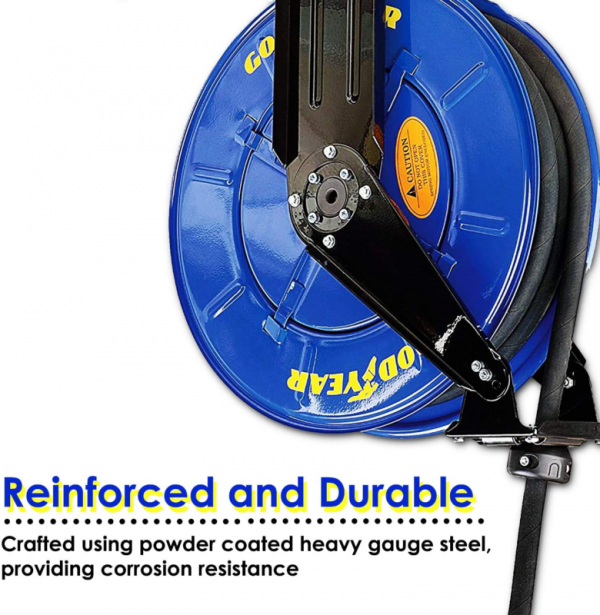 GOODYEAR Oil Hose Reel Retractable Spring Driven Steel Construction Elite Heavy