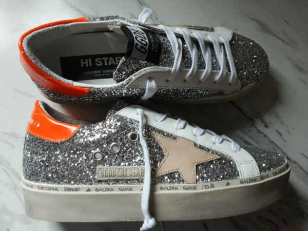 Golden goose hi star sneakers silver glitter hazelnut star Sz 36 US 6 $605