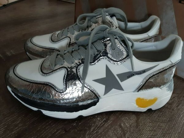 Buy Best Golden goose running sneakers white silver leather Sz 36 US 6  $530