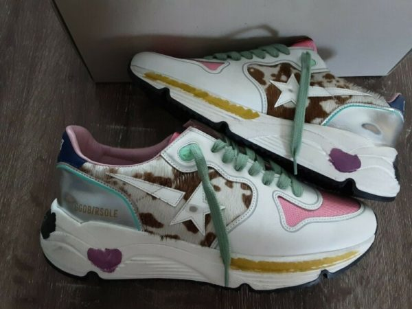 Golden goose running sole sneakers cow pony white leather pink Sz 40 $605