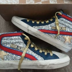 Golden goose slide silver glitter blue gold leather ice star Sz 37 US 7