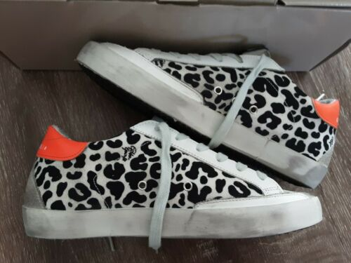 Golden goose superstar leopard sneakers printed canvas yellow star Sz37 US7 $530