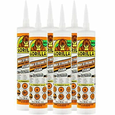 Gorilla Max Strength Clear Construction Adhesive, 9 Ounce Cartridge, (Pack Of 6)