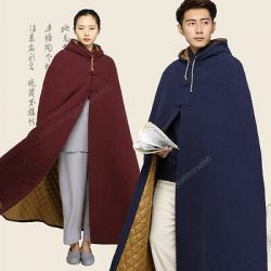 Hooded Cape Warm Cotton Lining Buddhist Meditation Monk Cloak Long Robe Gown