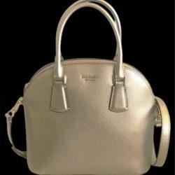 Kate Spade Sylvia Pale Gold Leather Large Dome Satchel Black Shoulder Handbag