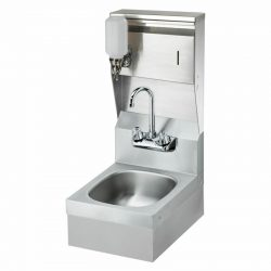 "Krowne 12"" Wide Space Saver Hand Sink with Soap & Towel Dispenser and P-Trap"