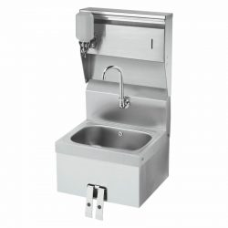 "Krowne 16"" Wide Hand Sink with Knee Valve and Soap & Towel Dispenser, HS-16"