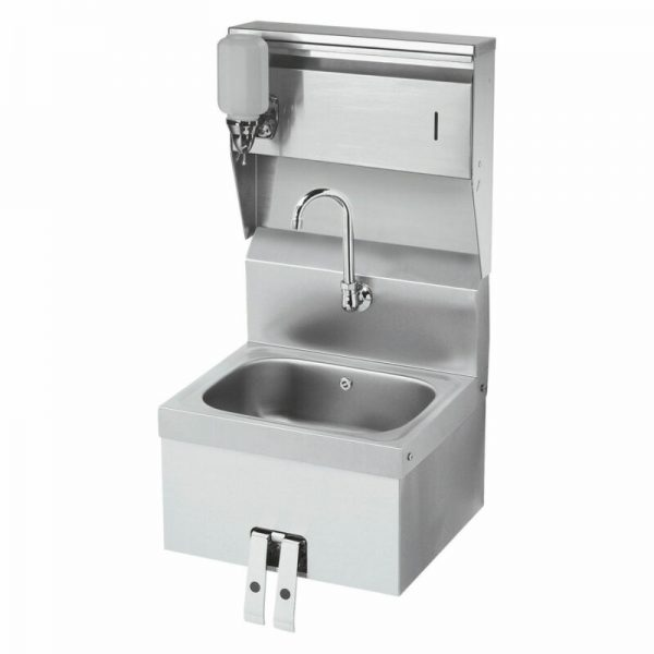 """Krowne 16"""" Wide Hand Sink with Knee Valve and Soap & Towel Dispenser, HS-16"""