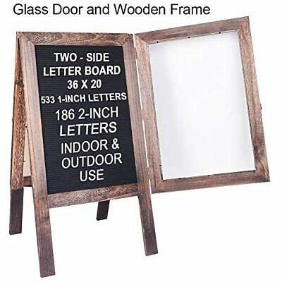 "Buy Best Large Wooden A-Frame Sidewalk Sign 36""x20"" Sandwich Board Double Sided Felt Sign"