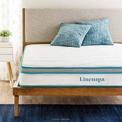Linenspa 8 Inch Memory Foam and Innerspring Hybrid-Mattress - Medium-Firm Feel -