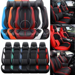 Luxury Car Seat Covers Front Rear 5-Sits Cushion Interior Generic fit Waterproof