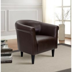 Mainstays Faux Leather Bucket Accent Chair, Brown