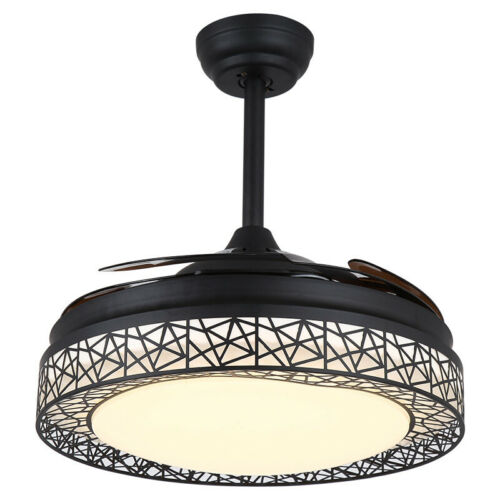 Modern Invisible Ceiling Fan Light Chandelier Lamp Remote Control Living Room US