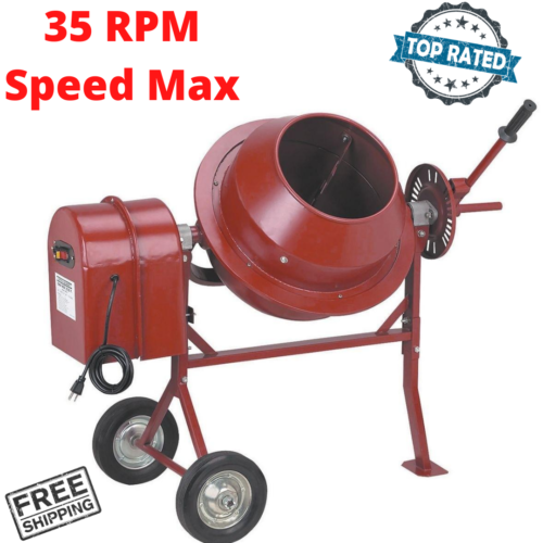 Portable Cement Mixer Concrete Use For Small Construction Works 1-1/4 Cubic Ft.