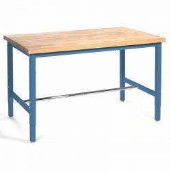 "Production Workbench - Birch Butcher Block Square Edge - Blue, 48""W x 30""D"