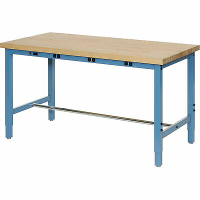 Buy Best Production Workbench with Power Apron - Birch Butcher Block Square Edge - Blue,