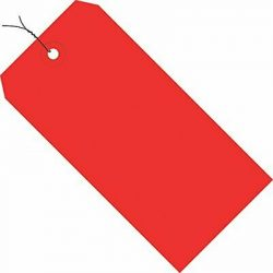 "Red Shipping Tags Wired 13 Pt 6 1/4"" x 3 1/8"" 8 Case of 1000"