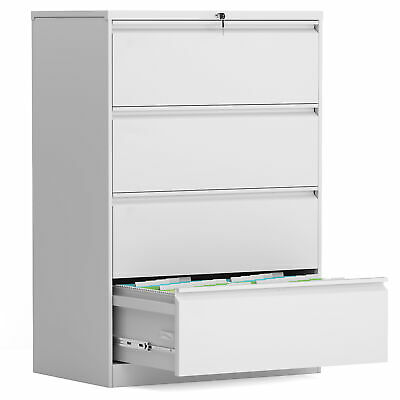 Steel Construction 4 Drawer Folding Lateral File Cabinet White Carton