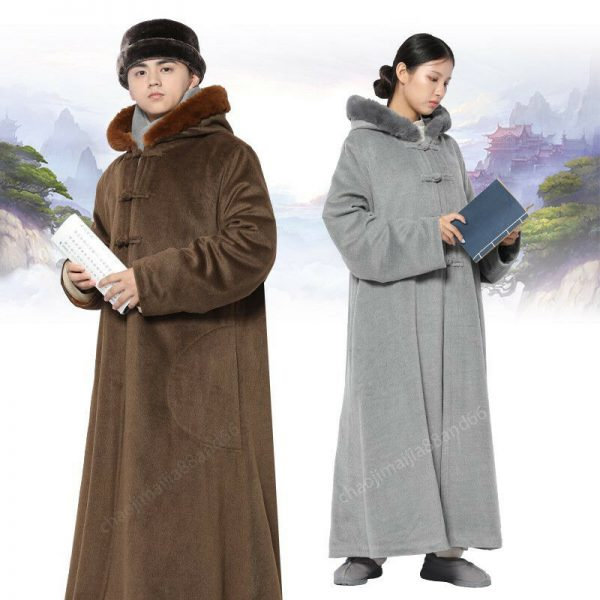 Winter Buddhist Meditation Shaolin Monk Kung Fu hooded Cloak Robe Gown Cape