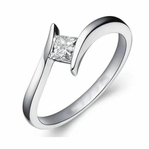 0.25 Cts F/VS1 Princess Cut Diamond Anniversary Solitaire Ring In 750 18K Gold