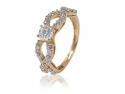 0.74 Cts Round Brilliant Cut Diamonds Wedding Solitaire Ring In 585 14Karat Gold