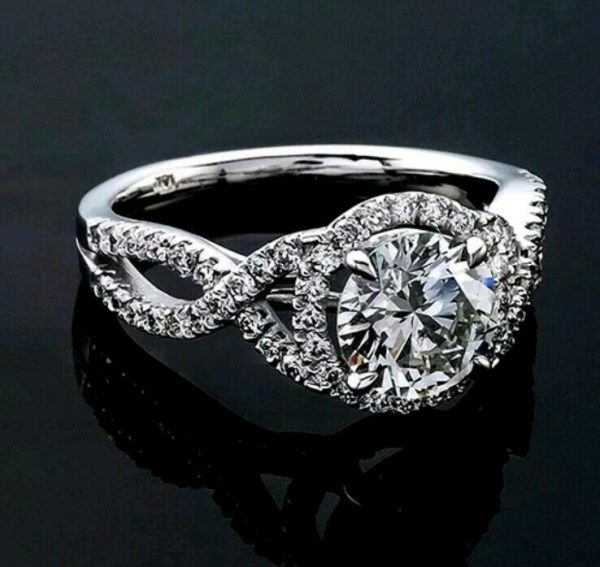 1 CT Diamond Engagement Ring Round Cut 14K White Gold