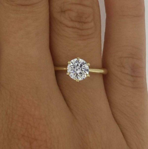 1.25 Carat Round Cut Diamond Solitaire Engagement Ring VS2 H Yellow Gold 14K