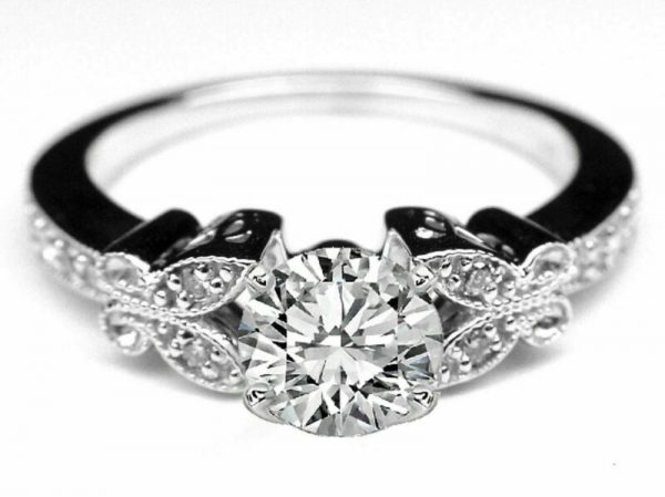 14K White Gold 1.16 CT Natural Diamond Butterfly Vintage Engagement Ring