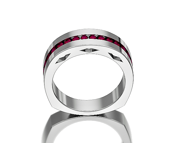 14KT WHITE GOLD Channel Set  Ruby Man's Ring Size 9
