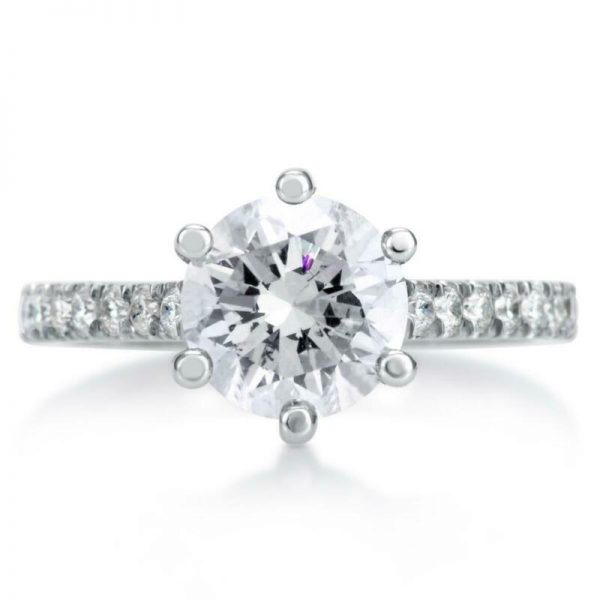 1.7 Carat Round Cut Diamond Solitaire Engagement Ring VS1 D White Gold 14K