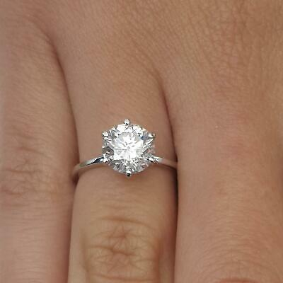 2 Carat Round Cut Diamond Solitaire Engagement Ring SI1 D White Gold 18K