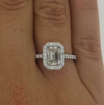 2.15 Ct Emerald Cut  D/Si1 Diamond Engagement Ring 14K White Gold