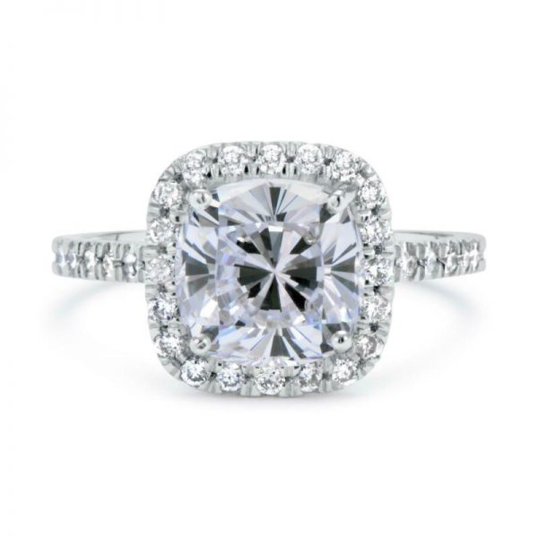2.30 Ct Cushion Cut  D/Si1 Halo Diamond Engagement Ring 14K White Gold