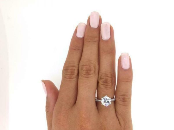 2.50 Ct Round Cut  D/Si1 Diamond Engagement Ring 18K White Gold