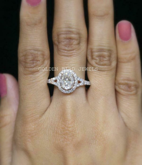 Anniversary Ring For Her, 2.5 CT Near Colorless Oval Moissanite Rose Gold Ring