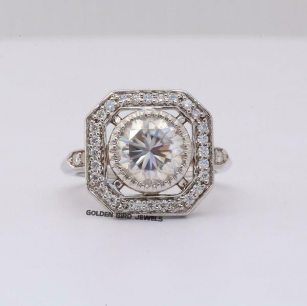 Antique Filigree Ring, 2 CT Colorless Round Moissanite White Gold Ring For Her