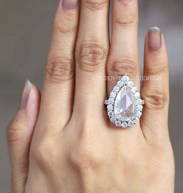 Best Halo Ring, Engagement White Gold Ring, 8 CT Rose Cut Pear Moissanite Ring