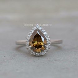 Colored Moissanite Ring, 1.85 CT Golden Brown Pear Moissanite Halo Ring For Her