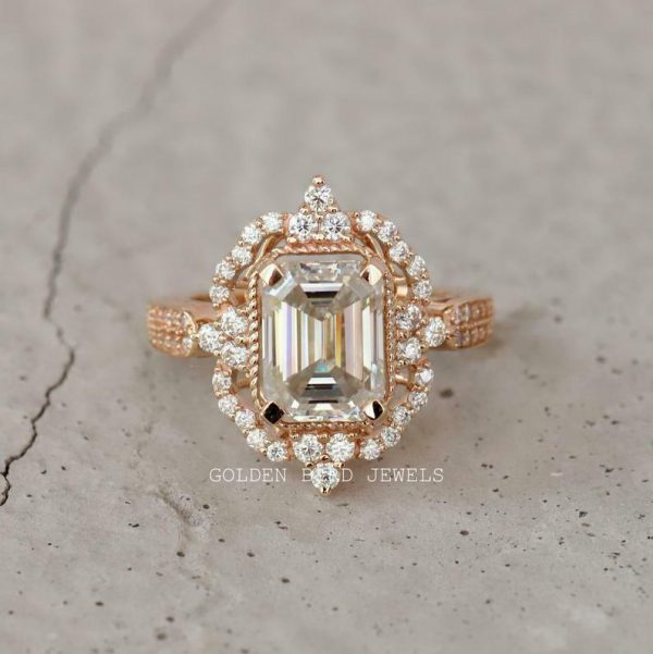 Engagement Rose Gold Ring, 3 CT Colorless Emerald Moissanite Art Deco Halo Ring