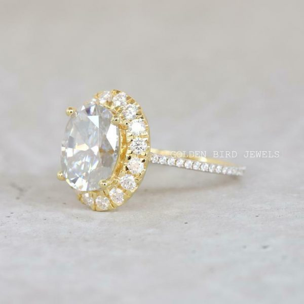 Gift Ring For Her, 5 CT Oval Moissanite Yellow Gold Ring, Moissanite Halo Ring
