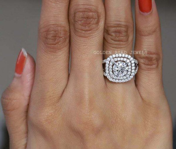 Halo & Accents Stone Ring, 1.5 CT Colorless Round Moissanite Double Halo Ring