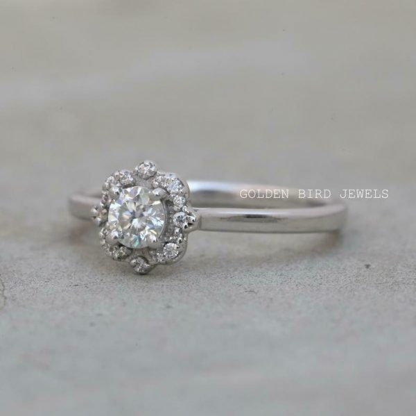 Halo Wedding Ring, 0.30 CT Near Colorless Round Moissanite Ring, White Gold Ring